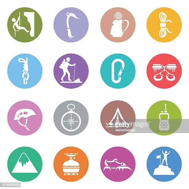 climbing icon set - courage stock illustrations