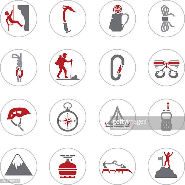 climbing icons - safety equipment stock illustrations, clip art, cartoons, & icons
