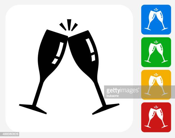 Cling Glasses Icon Flat Graphic Design