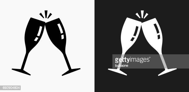 Cling Glasses Icon on Black and White Vector Backgrounds