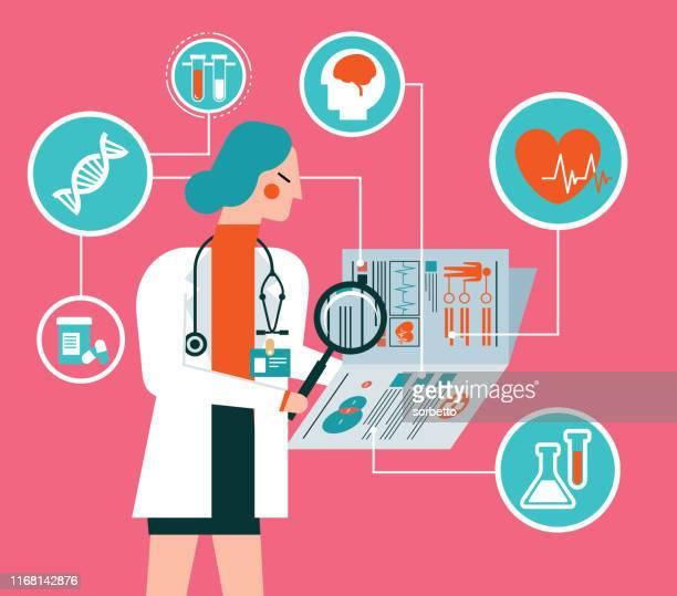 klinische aufzeichnung - ärztin - überprüfung stock-grafiken, -clipart, -cartoons und -symbole