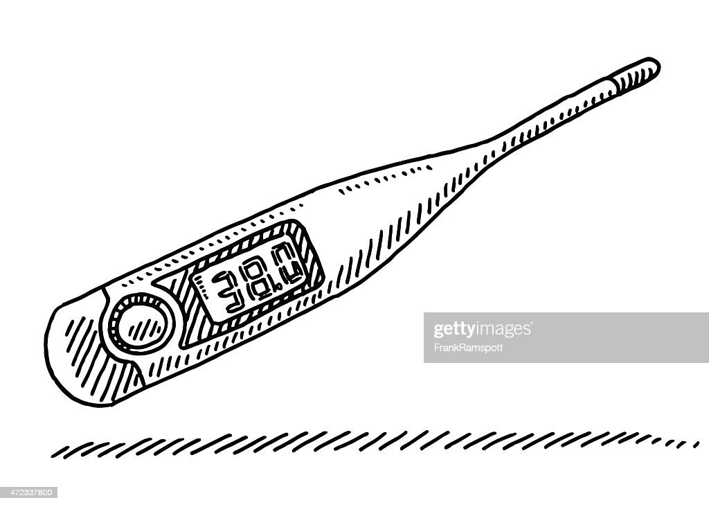 Clinical Thermometer Fever Measurement Drawing Vector Art