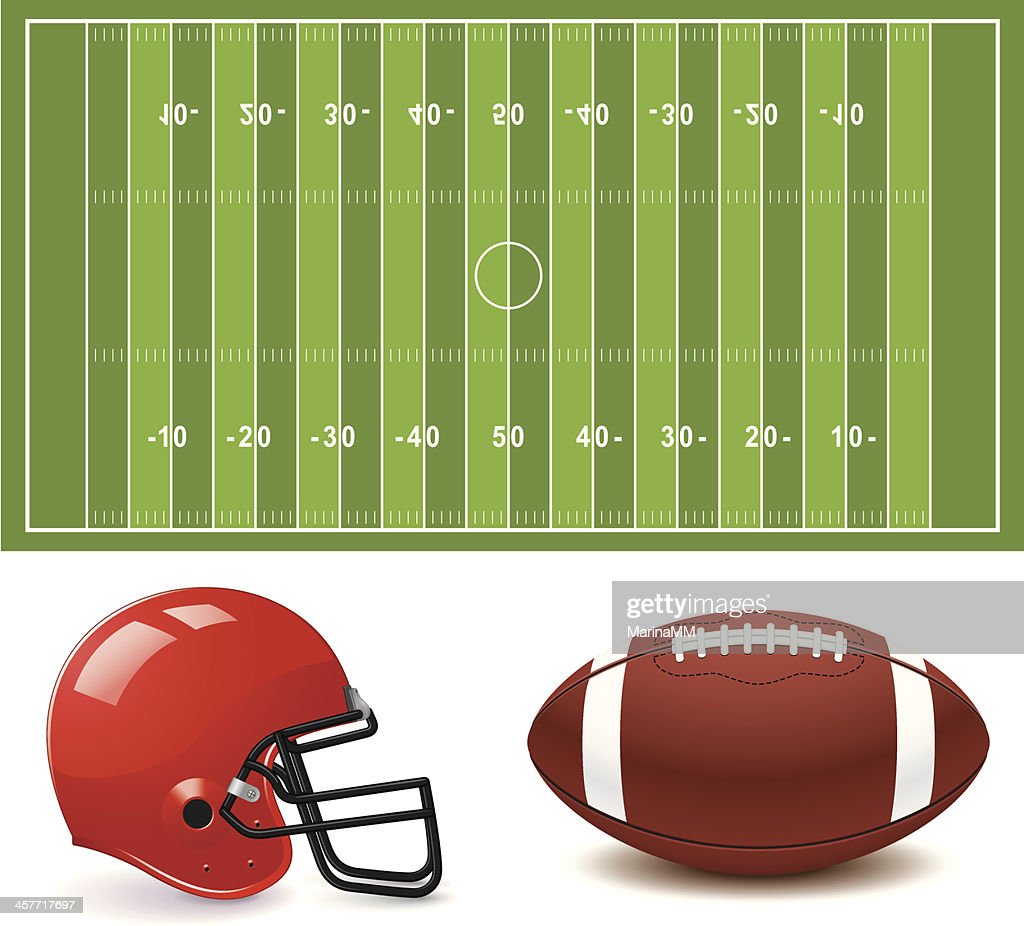 Clip art graphic of American football field, helmet and ball