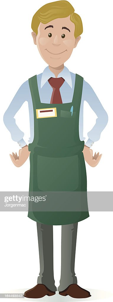 Clip art of a young male shopkeeper in a green apron
