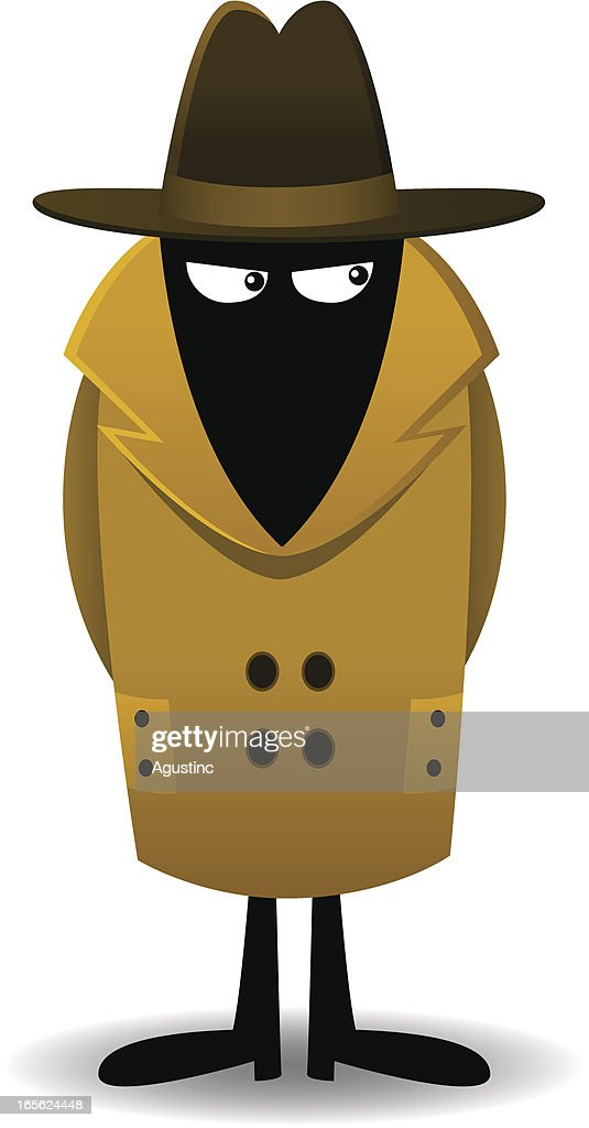 Clip Art Of Secret Agent In A Trench Coat And Hat Vector
