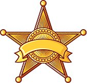 Clip art of sheriff star badge with ribbon around it
