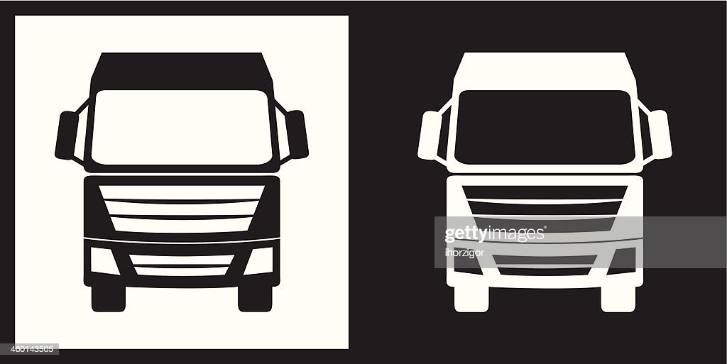 Clip Art Of Two Large Trucks Or RV In Black And White Vector