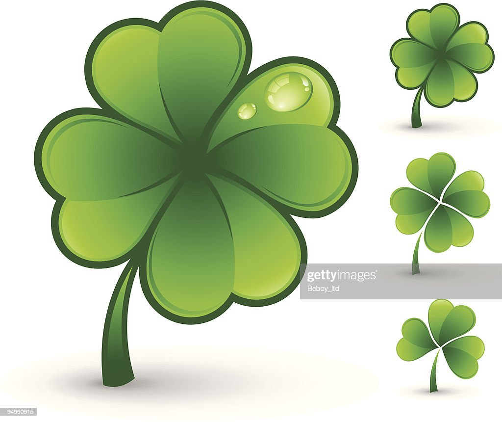 Clip art of various Glenn four leaf clovers