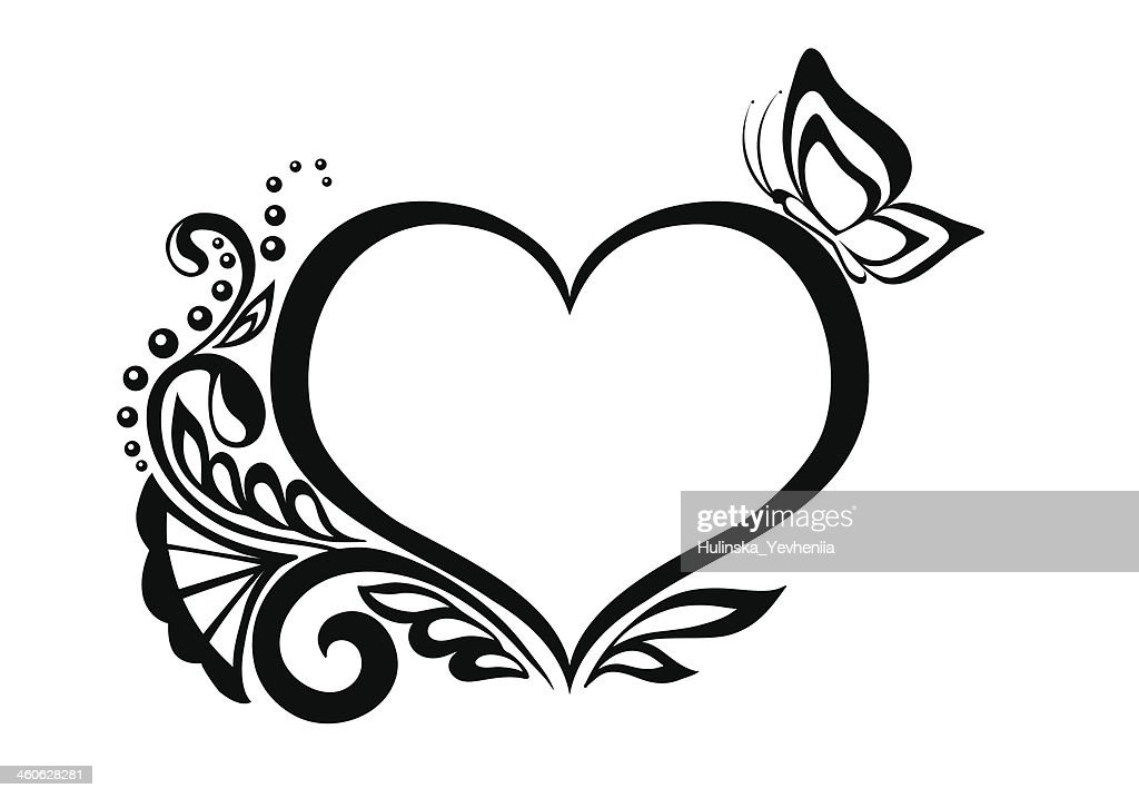 Clipart B&W heart with floral and butterfly design