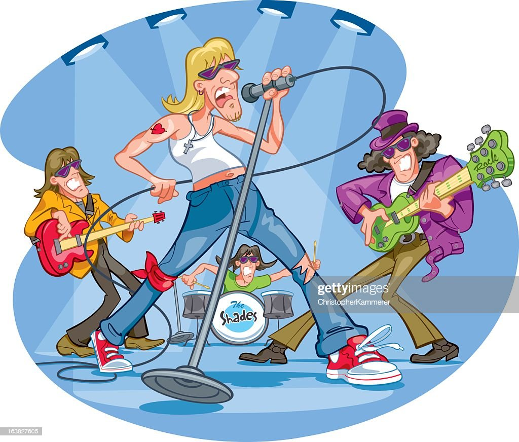 Clipart of a rock band performing