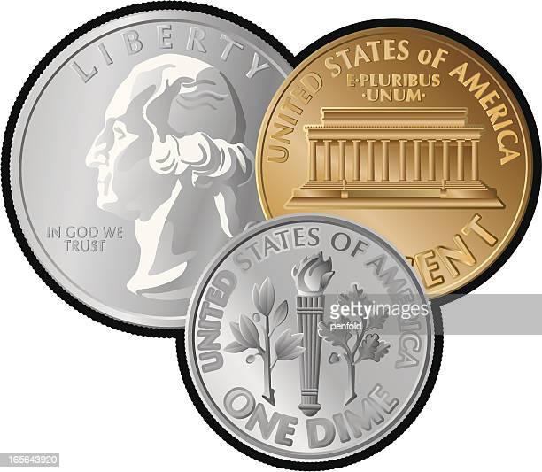 us-münzen - amerikanische währung stock-grafiken, -clipart, -cartoons und -symbole