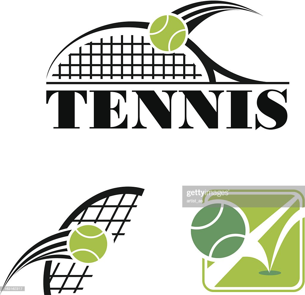 Clipart of tennis symbols in black and green