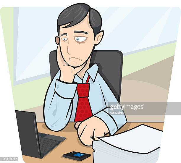 Clipart of young businessman at computer looking burnt out