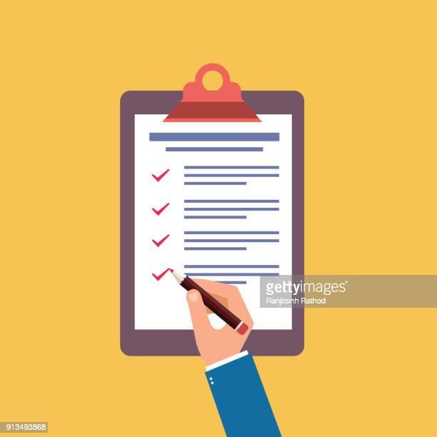 ilustrações, clipart, desenhos animados e ícones de área de transferência e lista de verificação com mão humana - preencher um formulário