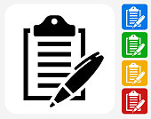 Clipboard and Pen Icon Flat Graphic Design