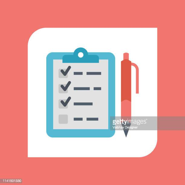 clipboard check list marks with pen - illustration - to do list stock illustrations