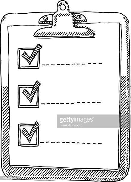 clipboard check list tick drawing - list stock illustrations, clip art, cartoons, & icons