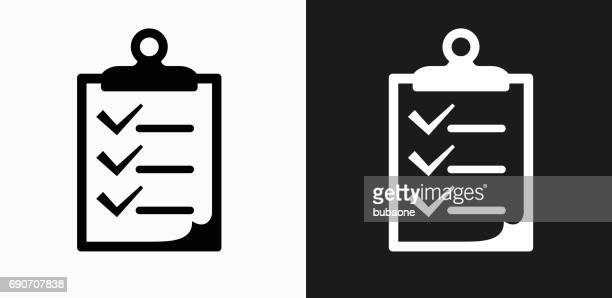 Clipboard Checklist Icon on Black and White Vector Backgrounds