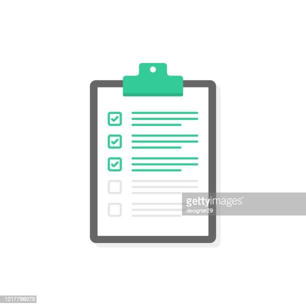 clipboard, checkmark and checklist flat design on white background. - checkbox stock illustrations