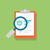 Clipboard icon and magnifying glass. Confirmed or approved document. Flat illustration isolated on color background.