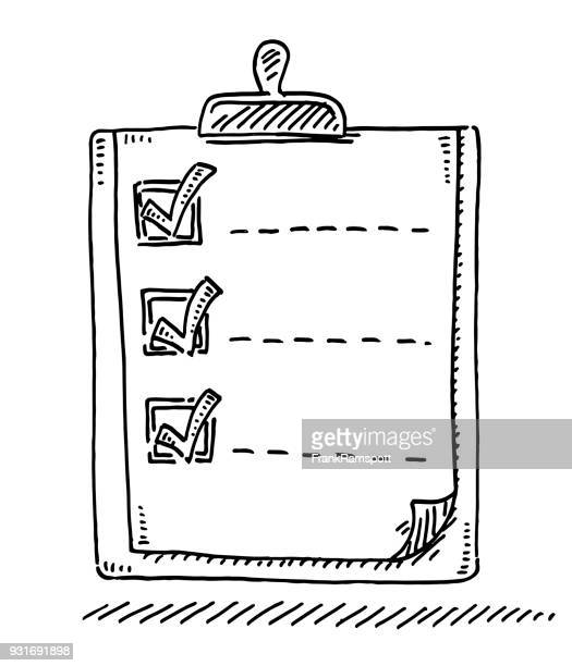 clipboard list check mark drawing - to do list stock illustrations