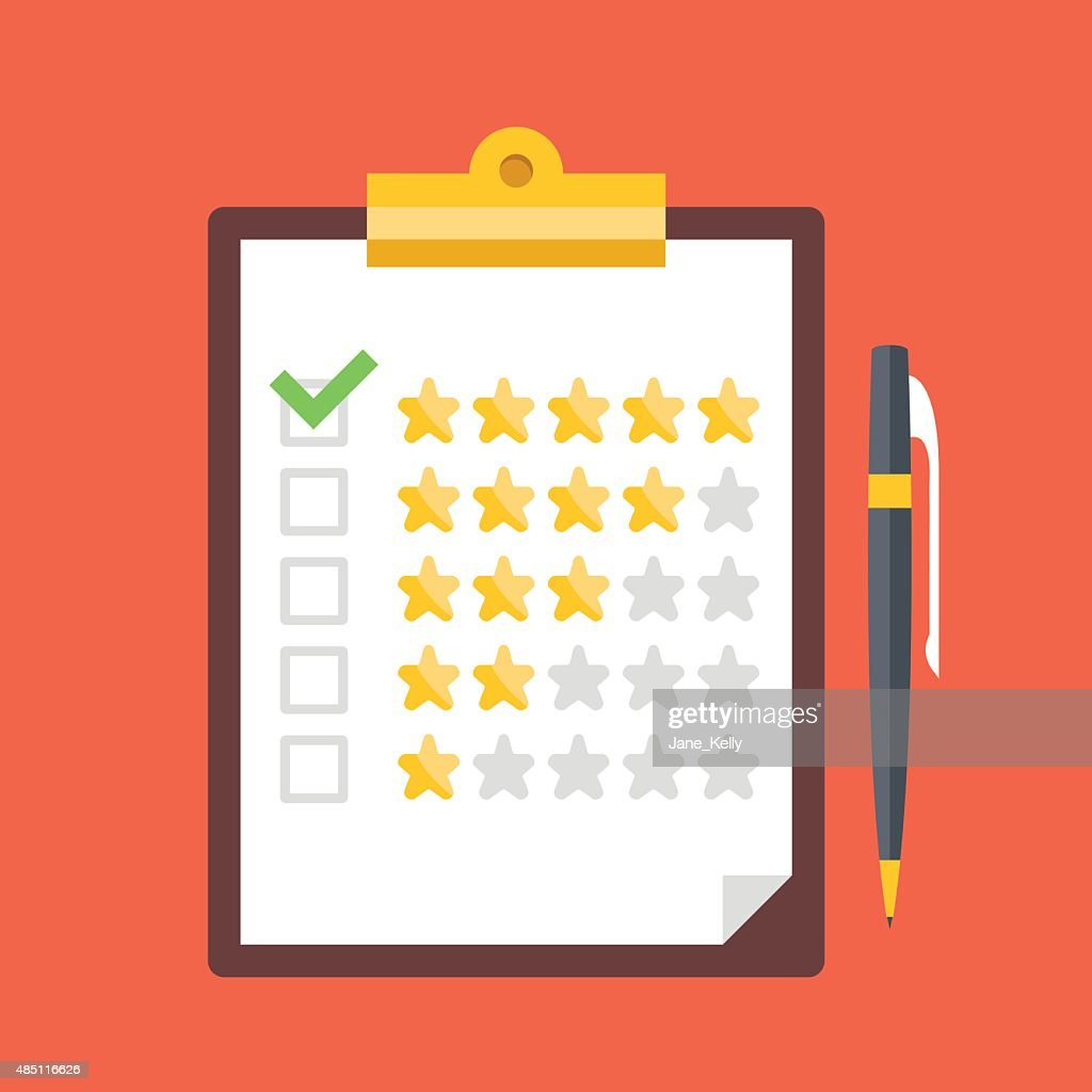 Clipboard, rating stars, pen. Quality control, customers reviews, service rating