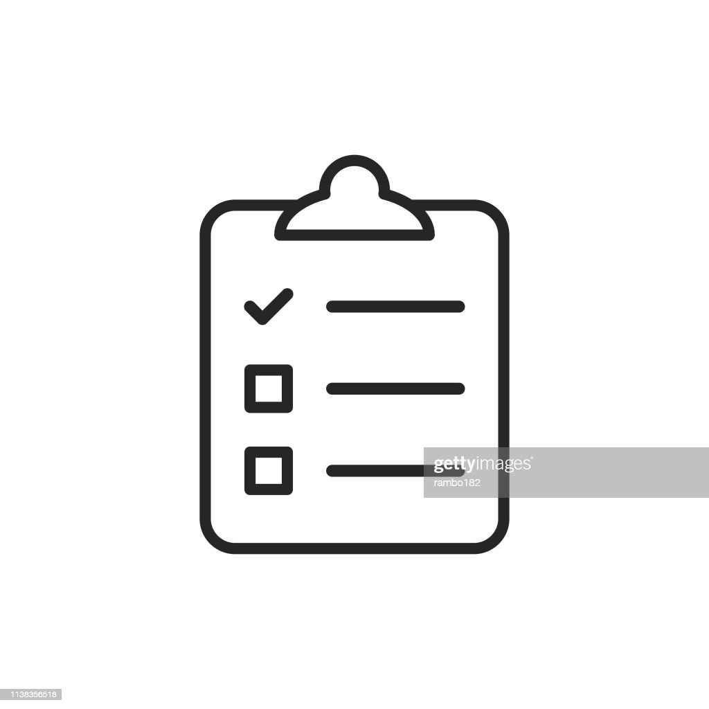Clipboard witch Checklist, Wishlist Line Icon. Bearbeitbare Stroke. Pixel Perfect. Für Mobile und Web. : Stock-Illustration