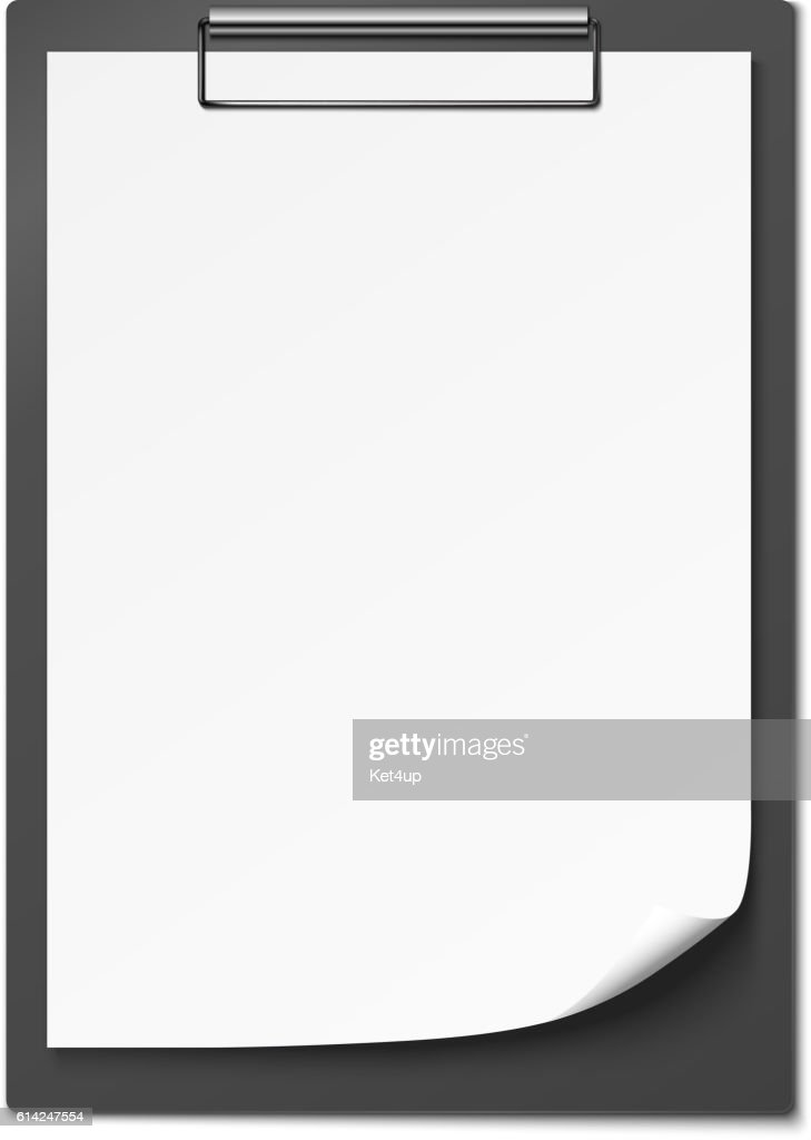 Clipboard with blank paper. Vector illustration