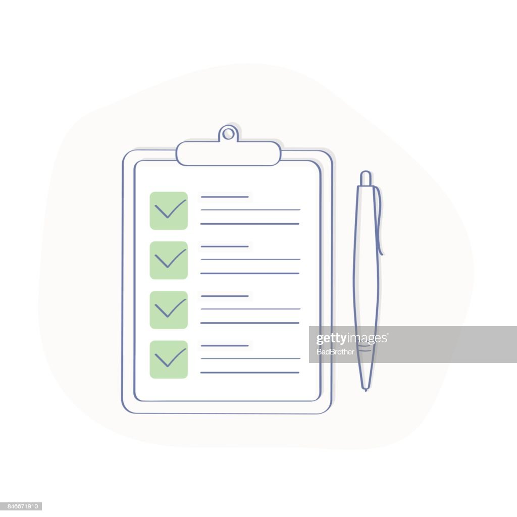 Clipboard with green Ticks checkmarks and pen. Checklist, Complete Tasks, To-do List, Survey or Exam concept.