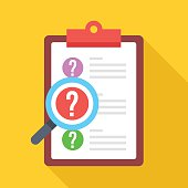 Clipboard with question marks and magnifying glass. Flat vector icon