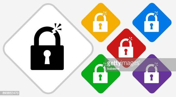 Clipped Lock Color Diamond Vector Icon
