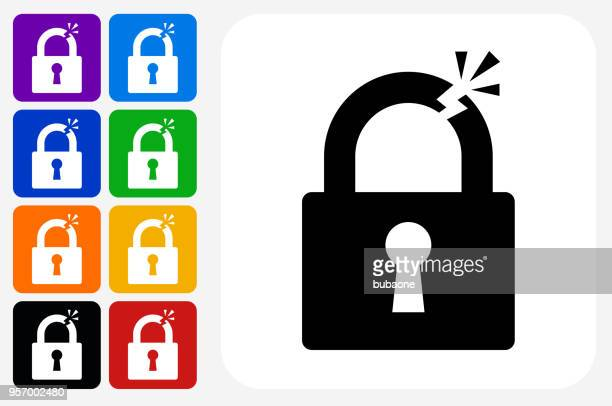 clipped lock icon square button set - broken stock illustrations, clip art, cartoons, & icons