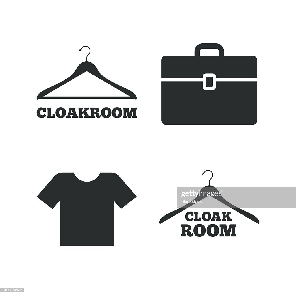 Cloakroom signs. Hanger wardrobe icons