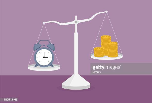 clock and a stack of coin on the scale - scales stock illustrations