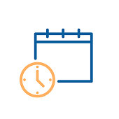 Clock and calendar simple icon. Vector illustration for business, schedule, office, routine, delivery days, deadline etc