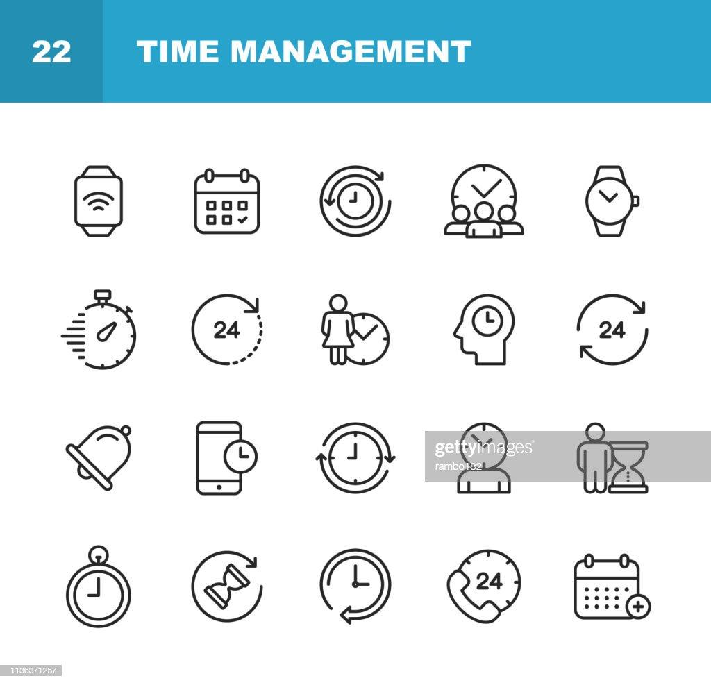 Ícones da linha de gerenciamento do relógio e do tempo. Traçado editável. Pixel perfeito. Para Mobile e Web. Contém ícones como relógio, tempo, cronômetro, gerenciamento, calendário. : Ilustração