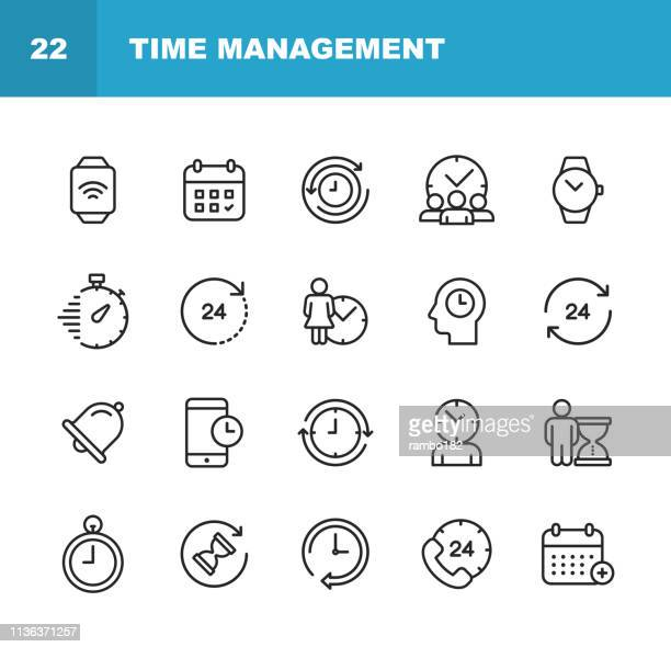 clock and time management line icons. editable stroke. pixel perfect. for mobile and web. contains such icons as clock, time, stopwatch, management, calendar. - urgency stock illustrations