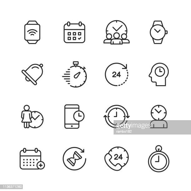 clock and time management line icons. editable stroke. pixel perfect. for mobile and web. contains such icons as clock, time, stopwatch, management, calendar. - smart watch stock illustrations