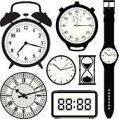 clock and watch collection black