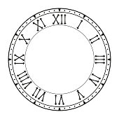 Clock face. Black blank clock with roman numerals