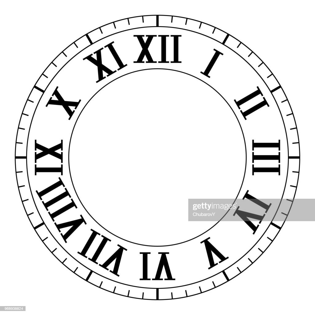 Clock Face Black Blank Clock With Roman Numerals stock illustration