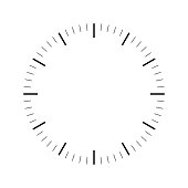 Clock face. Blank hour dial. Dashes mark minutes and hours. Simple flat vector illustration