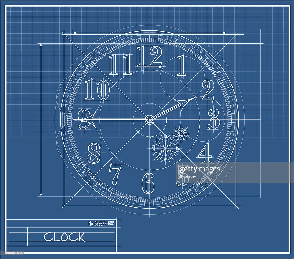 Clock face blueprint vector art getty images clock face blueprint vector art malvernweather Choice Image