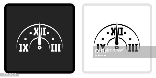 clock face icon on  black button with white rollover - midnight stock illustrations