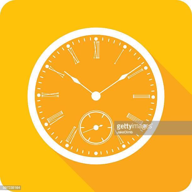 ilustraciones, imágenes clip art, dibujos animados e iconos de stock de clock face icon silhouette - reloj de bolsillo