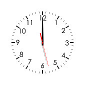 Clock face isolated on white background. 12 o'clock