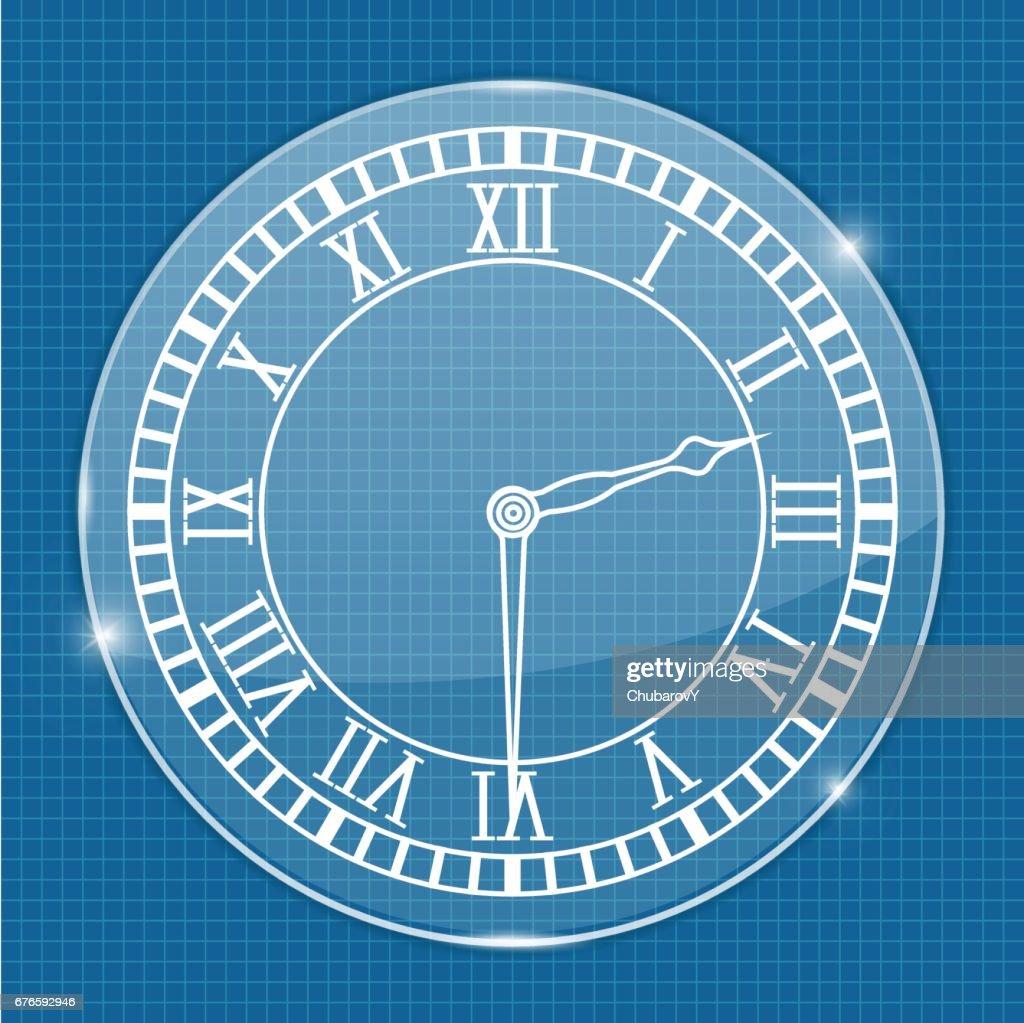 Clock face. On blueprint background