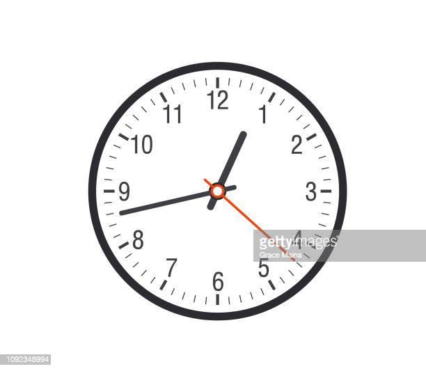 ilustrações de stock, clip art, desenhos animados e ícones de clock face showing time - ver a hora