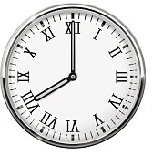 Clock face with roman numerals. Eight o'clock