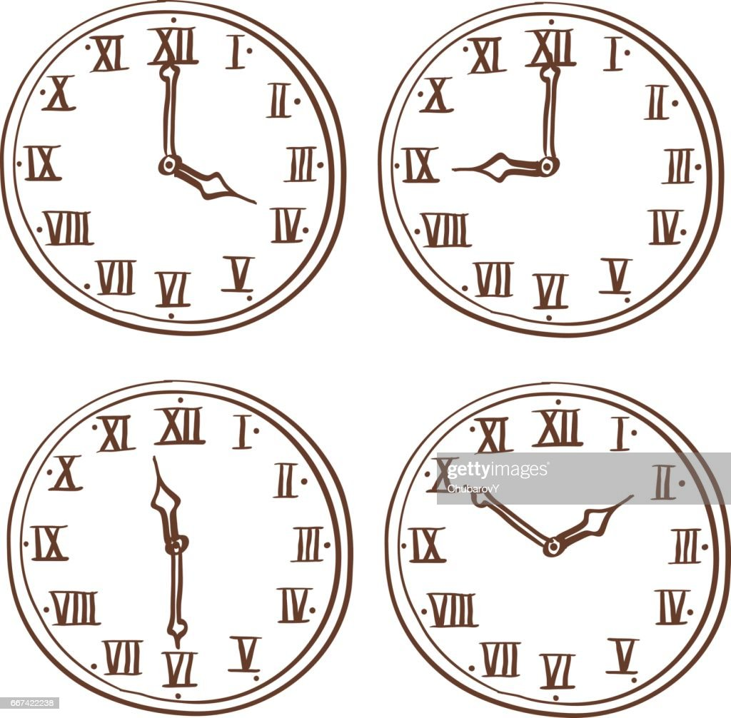 Clock face with roman numerals. Hand drawn doodle